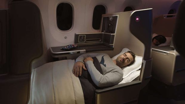 One of the Business class flat-bed cubicles on the Quantas B787-9 Dreamliner which flew non-stop from Perth to London earlier this year. Photograph: Quantas