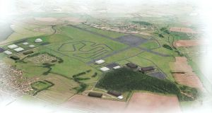Dyson's new campus at Hullavington Airfield in Wiltshire, where the company has unveiled plans for a 10-mile test track for their new electric cars.  Photograph: Wilkinson Eyre Architects/PA
