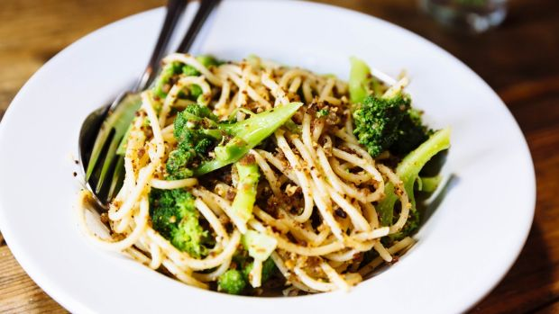 Pasta with crisp breadcrumbs, almonds, chilli and broccoli. Photograph: Emma Jervis