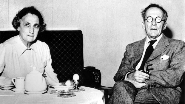 Schrödinger at breakfast with his wife, Anny, in a Vienna hotel. Photograph: SSPL/Getty Images