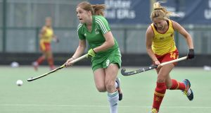 Ireland captain  Katie Mullan in action against Spain. She will play this season  in Germany with reigning champions Club an der Alster.  Photograph: Rowland White/Inpho/Presseye