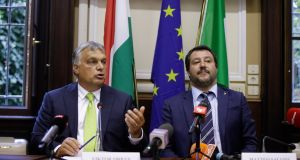 Italy's interior minister and deputy prime minister Matteo Salvini, right, with Hungary's prime minister, Viktor Orban,  in Milan, Italy, this week. Photograph: Luca Bruno/AP
