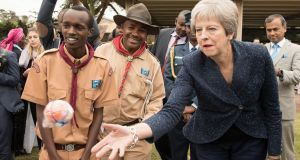 Britain's prime minister Theresa May meeting  scouts in Nairobi: can expect her MPs to return to Westminster complaining about her Chequers proposal. Photograph: Stefan Rousseau/PA