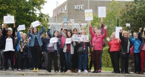 A protest by Members of the Deaf Community and ISL users protesting outside RTE over the public service broadcaster's alleged failure to adequately include ISL (Irish Sign Language)Photograph: Alan Betson / The Irish Times