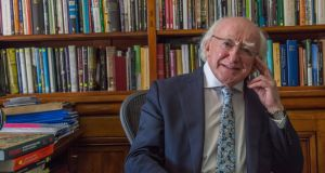 Áras an Uachtaráin  said President Michael D Higgins would make a statement about his election campaign arrangements when he lodges his nomination papers. Photograph: Brenda Fitzsimons