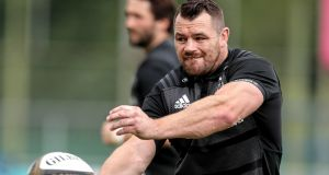 Cian Healy training with the Leinster squad at Energia Park, Donnybrook on Monday. Photograph: Laszlo Geczo/Inpho