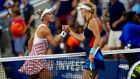 Lesia Tsurenko (L) beat Caroline Wozniacki in straight sets. Photograph: Eduardo Munoz Alvarez/AFP/Getty