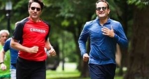 Taoiseach Leo Varadkar takes Canadian Prime Minister Justin Trudeau for a jog in the Phoenix Park. Photograph: PA Wire