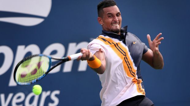 Kyrgios hits a return during the second round match. Photo: Rick Loomis/The New York Times