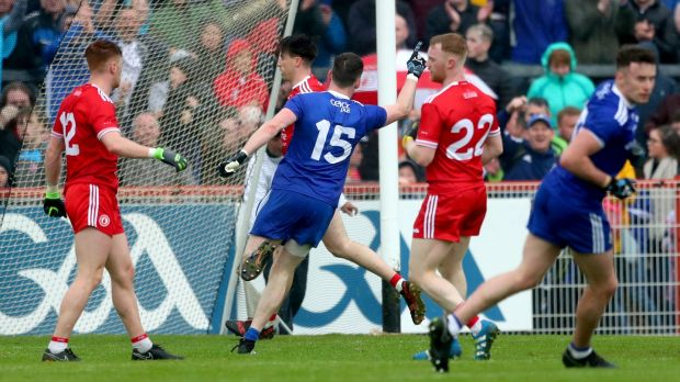 Monaghan's Conor McManus celebrates scoring his late point against Tyrone.