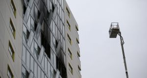 The aftermath of a fire at the Metro hotel in Ballymun in March this year.  Photograph: Nick Bradshaw