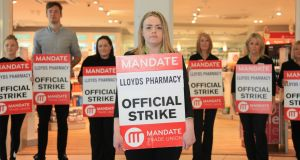 A picket on Lloyds in the Nutgrove Shopping Centre.