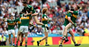 Kerry minors celebrate their dramatic victory over Monaghan in the semi-final at Croke Park. Photograph: James Crombie/Inpho