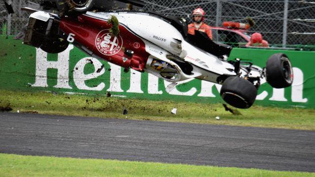 Ericsson's car flips up in the air. Photo: Getty Images