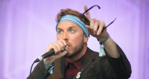 Paddy Hanna: bravely paired a violent-blue bandanna with sunglasses. Photograph: Dave Meehan