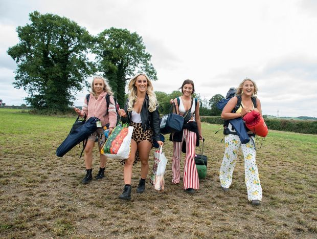 Electric Picnic 2018: friends Amy Griffin, Jessica Somerville, Laura Basquel and Connie Cleary arrive at Stradbally. Photograph: Dave Meehan