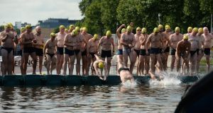 The annual Liffey Swim from Watling Street Bridge to the Customs House in Dublin on Saturday.Photograph: Dara Mac Donaill / The Irish Times