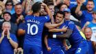 Chelsea celebrate after Pedro breaks the deadlock against Bournemouth. Photograph: Eddie Keogh/Reuters