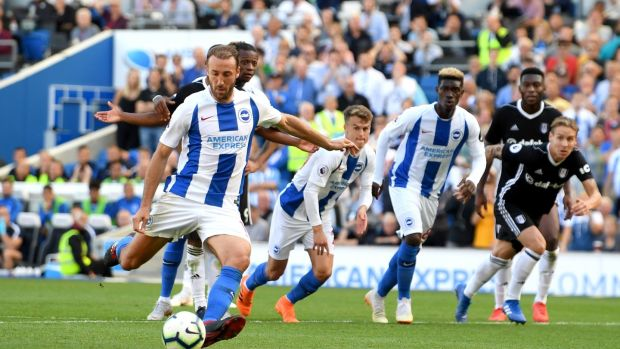 Glenn Murray scores Brighton's equaliser against Fulham from the penalty spot. Photograph: Mike Hewitt/Getty