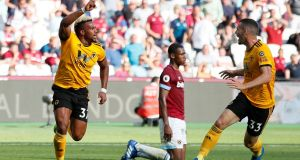 Adama Traore celebrates scoring Wolves' last minute winner against West Ham. Photograph: David Klein/Reuters