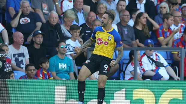 Danny Ings celebrates after opening the scoring for Southampton against Crystal Palace. Photograph: Alex Morton/Getty