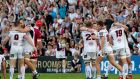 The Ulster players celebrates the final whistle. Photograph: Morgan Treacy/Inpho