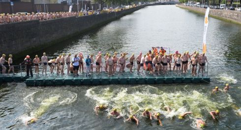 Swimmers  at the start in the men's race. Photograph: Cyril Byrne