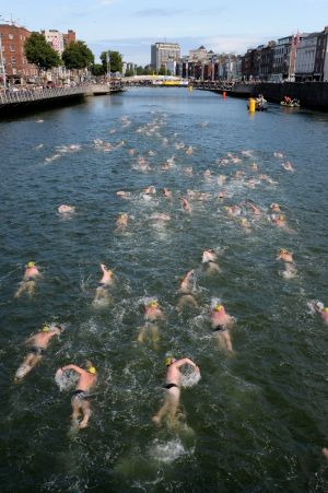 Swimmers in the men's race. Photograph: Cyril Byrne
