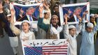Pakistani demonstrators take part in a protest against US aid cuts in Lahore in January. File photograph: Arif Ali/Getty Images