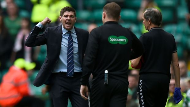 Steven Gerrard argues with officials after Celtic's opener against Rangers. Photograph: Andy Buchanan/AFP/Getty