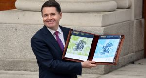 Minister for Finance Paschal Donohoe announcing last year's budget. For this year's budget he's unlikely to  unveil any radical changes.  Photograph: Cyril Byrne
