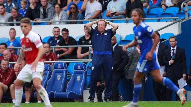 Neil Warnock saw his Cardiff side beaten 3-2 by Arsenal. Photograph: Andrew Couldridge/Reuters