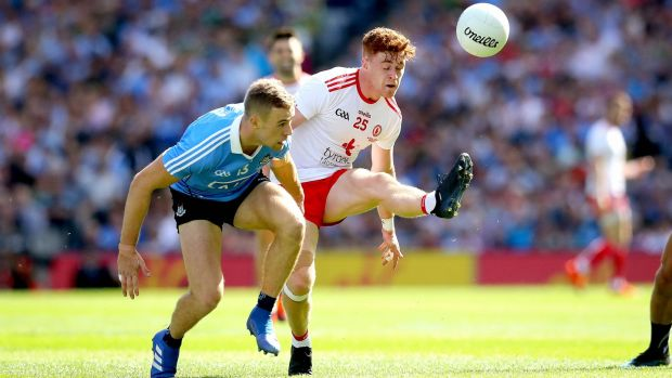 Paul Mannion challenges Conor Meyler during Dublin's win over Tyrone. Photograph: Ryan Byrne/Inpho