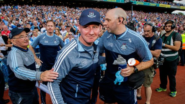 Jim Gavin after Dublin secured a fourth-consecutive All-Ireland with victory over Tyrone. Photograph: Ryan Byrne/Inpho