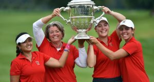 The  USA team (from left) Lilia Vu, Stasia Collins (Team Captain), Jennifer Kupcho and Kristen Gillman at Carton House. Photograph:  Pat Cashman