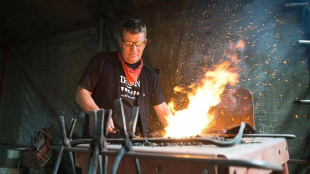 The man with the anvil: blacksmith Patrick Strahan at Electric Picnic's GreenCrafts Village. Photograph: Dave Meehan