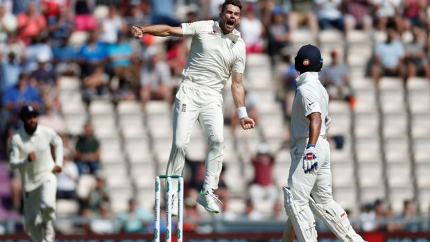 England's James Anderson celebrates the wicket of Shikhar Dhawan. Photograph: Paul Childs/Reuters