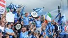 YE BOYS IN BLUE: Fans celebrate after Dublin were victorious against Tyrone in the GAA All-Ireland football senior championship final at Croke Park in Dublin. Photograph: Dara Mac Dónaill/The Irish Times