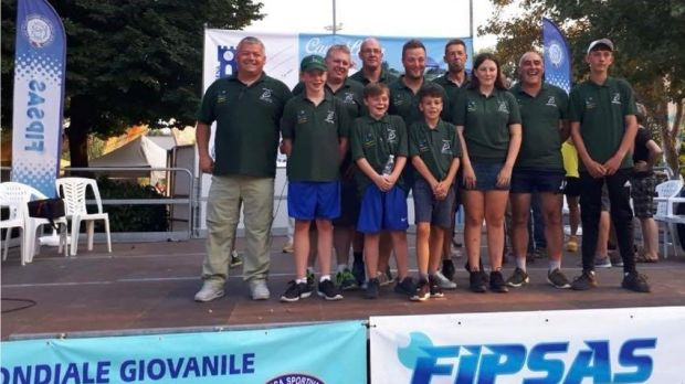 Ireland's youth coarse angling team with mentors at world championships in Modena, Italy.