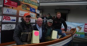 Melvin dual winner Robert Reilly (left) with chairman Sean Rasdale, dual winner Hubert Smith and David Connor of DC Boats.