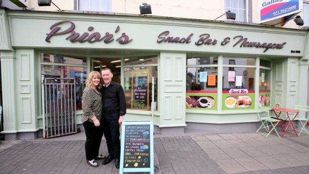 Bernadette Keenan and Colm Prior at their shop, Prior's which closed on Friday. Photograph: Brian Farrell