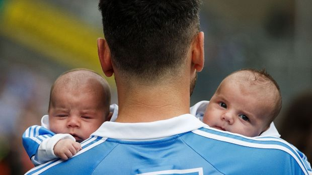 Bernard Brogan celebrates after the game with his sons Keadan and Donagh Brogan (8 weeks old). Photo: Tommy Dickson/Inpho