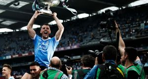 Dublin's Cormac Costello celebrates after their victory over Tyrone to win the All-Ireland SFC for the fourth time in a row. Photo: Tommy Dickson/Inpho