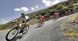 US rider Benjamin King  of Dimension Data team in action during the ninth stage of La Vuelta 2018 cycling tour, over 200.8km between Talavera de la Reina and La Covatilla, Salamanca, Spain. Manuel Bruque/EPA