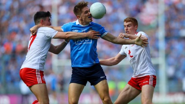 Dublin's Michael Fitzsimons battles with Tyrone's Lee Brennan and Peter Harte at Croke Park. Harte, like most of Tyrone's big names, was kept very quiet. Photograph: Tommy Dickson/Inpho