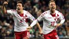 Denmark's Thomas Delaney and Christian Eriksen. The Danish Players Association are in a dispute with the DBU over a new commercial rights agreement. Photograph: Morgan Treacy/Inpho