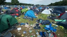Abandoned tents and rubbish litter a campsite at Electric Picnic on Monday afternoon. Photograph: Dave Meehan