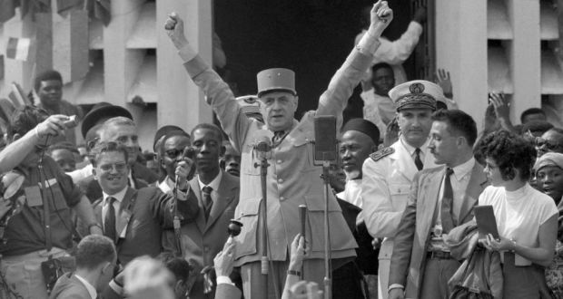 French president Charles de Gaulle (centre)  in Brazzaville, French Equatorial Africa (modern-day Republic of the Congo) in 1958.
