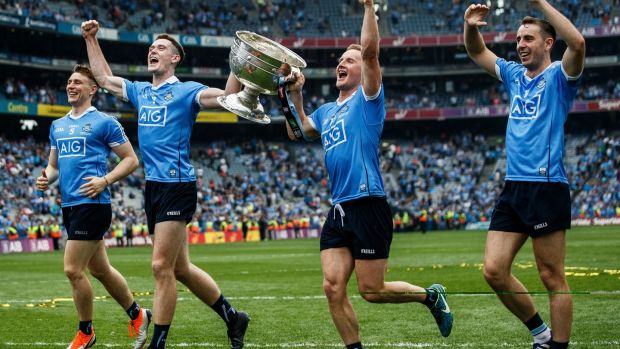 Dublin's John Small, Brian Fenton, Ciarán Kilkenny and Cormac Costello celebrates after the game. Photograph: Tommy Dickson/Inpho