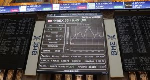 The evolution of the main Spanish stock market index IBEX 35 on view in Madrid on Monday. Photograph: EPA/ZIPI